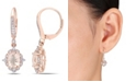 Macy's Morganite (2-1/3 ct. t.w.) White Sapphire (2/5 ct. t.w.) and Diamond (1/8 ct.tw.) Vintage Halo Dangle Earrings in 10k Rose Gold
