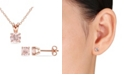 Macy's Morganite (1-4/5 ct. t.w.) Solitaire 2-Piece Necklace and Stud Earrings Set in 18k Rose Gold Over Silver