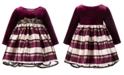 Bonnie Baby Baby Girls Velvet Jacquard Striped Dress