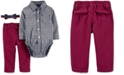 Carter's Baby Boys 3-Pc. Cotton Bowtie, Checkered Bodysuit & Pants Set