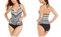 Kenneth Cole Mitered Printed Push-Up Halter Tankini Top & Hipster Bikini Bottoms