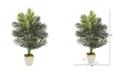 Nearly Natural 4.5' Paradise Palm Artificial Tree in Country White Planter