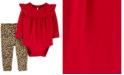 Carter's Baby Girls 2-Pc. Ruffled Bodysuit & Animal-Print Pants Cotton Set