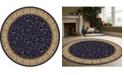 "KM Home CLOSEOUT! 1599/1555/NAVY Pesaro Blue 5'3"" x 5'3"" Round Area Rug"