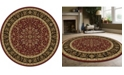"""KM Home CLOSEOUT! 1318/1537/BURGUNDY Navelli Red 7'10"""" x 7'10"""" Round Area Rug"""