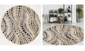 "KM Home CLOSEOUT! 3795/1005/BONE Imperia Ivory/ Cream 7'10"" x 7'10"" Round Area Rug"