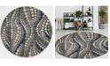 "KM Home CLOSEOUT! 3795/1024/Gray Imperia Gray 5'3"" x 5'3"" Round Area Rug"
