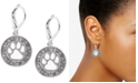 Pet Friends Jewelry Silver-Tone Pavé Paw-Cutout Drop Earrings