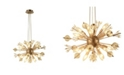 Worldwide Lighting Starburst 20 Light Matte Gold Tone Finish and Clear Crystal Sputnik Chandelier