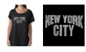 LA Pop Art Women's Dolman Cut Word Art Shirt - Nyc Neighborhoods