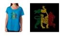 LA Pop Art Women's Dolman Cut Word Art Shirt - Rasta Lion - One Love