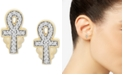 Wrapped Diamond Ankh Stud Earrings (1/10 ct. t.w.) in 14k Gold, Created for Macy's