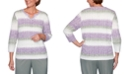 Alfred Dunner Loire Valley Marled-Knit Striped Sweater