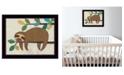 "Trendy Decor 4U Hanging Sloth II by Bernadette Deming, Ready to hang Framed Print, Black Frame, 18"" x 14"""