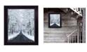 "Trendy Decor 4U All Roads lead Home winter lane by Lori Deiter, Ready to hang Framed Print, Black Frame, 14"" x 18"""