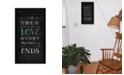 """Trendy Decor 4U A True Love Story Never Ends By Mollie B., Printed Wall Art, Ready to hang, Black Frame, 11"""" x 20"""""""