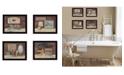 "Trendy Decor 4U BATHROOM COLLECTION I 4-Piece Vignette by Pam Britton, Black Frame, 17"" x 14"""