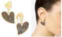 INC International Concepts INC Gold-Tone Beaded Heart Clip-On Earrings, Created For Macy's