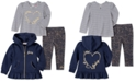 Juicy Couture Toddler Girls 3-Pc. Ruffled Fleece Jacket, Striped Top & Printed Leggings Set