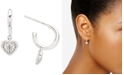 Elsie May Diamond Heart Charm Extra-Small Hoop Earrings (1/20 ct. t.w.) in Sterling Silver