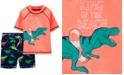 Carter's Toddler Boys 2-Pc. Dinosaur Rash Guard & Swim Trunks Set