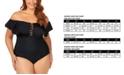 Raisins Curve Trendy Plus Size Juniors' Solid Caicos Flounce One-Piece Swimsuit