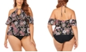 Raisins Curve Trendy Plus Size Juniors' Wild Romance Printed Shea Cold-Shoulder Tankini Top & Bottoms