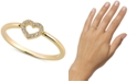Sarah Chloe Diamond (1/20 ct. t.w.) Open Heart Ring in 14k Gold Over Sterling Silver