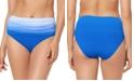 Bleu by Rod Beattie Ombre Ruched High-Waist Tummy Control Bikini Bottoms