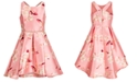 Pink & Violet Big Girls Floral-Print High-Low Mikado Dress