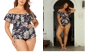 Raisins Curve Trendy Plus Size Juniors' Lush Palm Tortuga Flounce Tankini Top & Ruched Costa High-Waist Bikini Bottoms