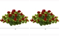 Nearly Natural 24in. Geranium Artificial Ledge Plant