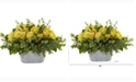 Nearly Natural 18in. Rose and Eucalyptus Artificial Arrangement in Tin White Vase