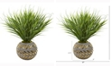 Nearly Natural 21in. Vanilla Grass Artificial Plant in Stoneware Planter with Gold Trimming