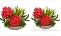Nearly Natural 16in. Succulent and Floral Artificial Arrangement in Decorative Vase