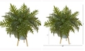 Nearly Natural 26in. Hares Foot Fern Artificial Plant in Green Planter with Stand Real Touch