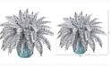 Nearly Natural 21in. Metallic Silver Boston Fern Artificial Plant in Turquoise Planter with Silver Trimming