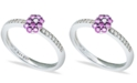 Macy's Pink Sapphire (1/3 ct. t.w.) Diamond (1/20 ct. t.w.) Stackable Ring  in Sterling Silver