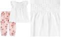 Carter's Baby Girls 2-Pc. Ruffle Eyelet Top & Floral-Print Pants Set