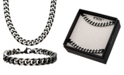 """INOX Curb Chain 8"""" Bracelet and 22"""" Necklace Set"""