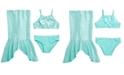 Breaking Waves Big Girls 3-Pc. Mermaid Tails Bikini & Skirt