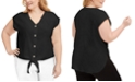 Calvin Klein Plus Size Tie-Hem Linen Top