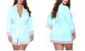 iCollection Plus Size Alluring Knit Ultra Soft Wrap Robe, Online Only