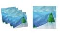 "Ambesonne Snowy Trees Set of 4 Napkins, 12"" x 12"""