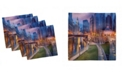 "Ambesonne Chicago Skyline Set of 4 Napkins, 12"" x 12"""