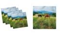 """Ambesonne Horses Set of 4 Napkins, 18"""" x 18"""""""