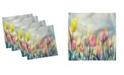 "Ambesonne Tulip Field Set of 4 Napkins, 18"" x 18"""