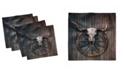 "Ambesonne Barn Wood Wagon Wheel Set of 4 Napkins, 18"" x 18"""