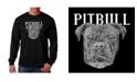 LA Pop Art Men's Word Art - Pitbull Face Long Sleeve T-Shirt