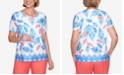 Alfred Dunner Plus Size Short Sleeve Batik Leaves Print Knit Top with Embellished Neckline and Border Trim